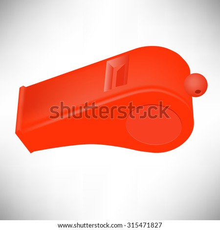 Vector Red Plastic Whistle Isolated on White Background
