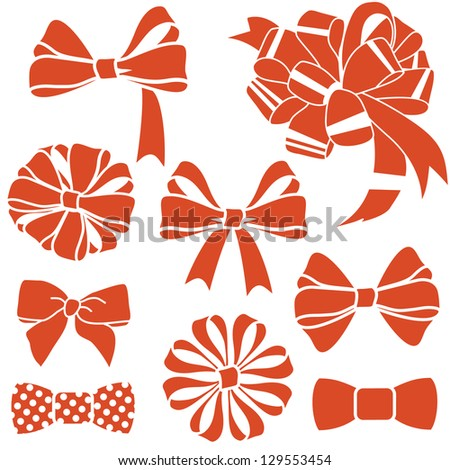 vector red present bows set - stock vector