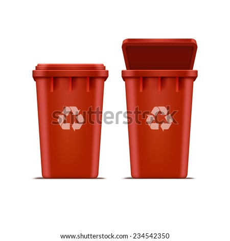 Vector Red Recycle Bin for Trash and Garbage Isolated on White Background - stock vector