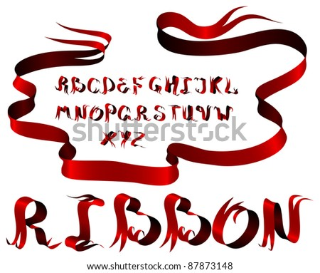 Vector red ribbon alphabet on a white background - stock vector