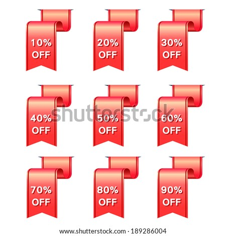 vector red ribbon discount label elements set