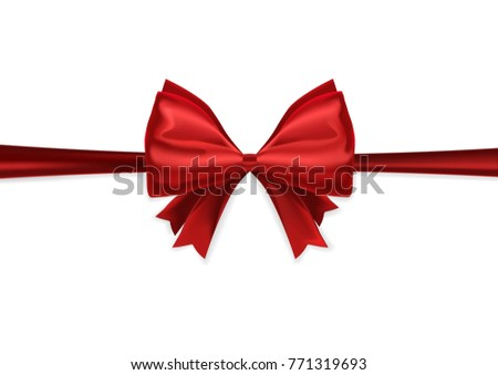 Vector red ribbon isolated on white background, red ribbon with bow vector clip art illustration.