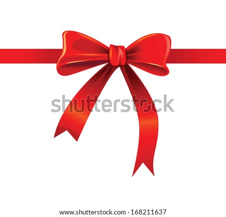 vector red ribbon on white background