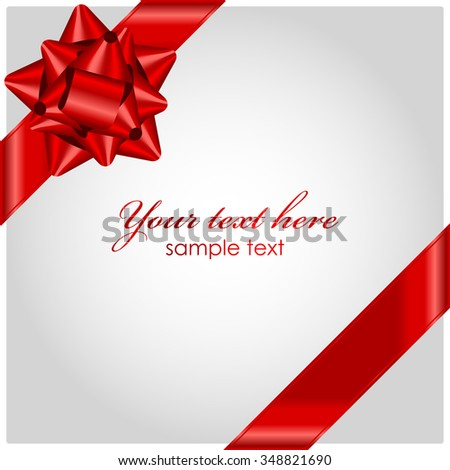 Vector red ribbon with bow - stock vector