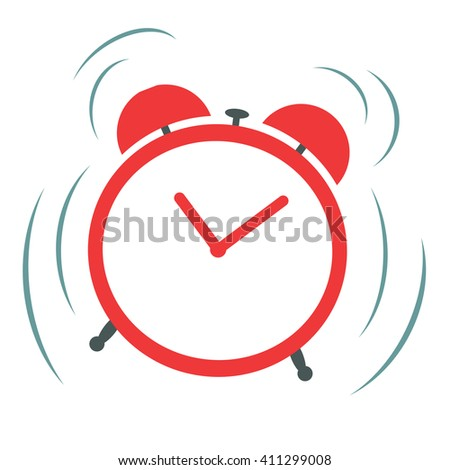 Vector red ringing alarm clock on a white background - stock vector
