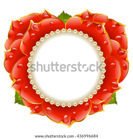 Vector red Rose heart frame with pearl necklace isolated on white background