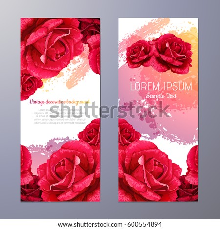 vector red rose illustration. invitation card.