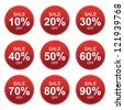 Vector: Red Sale 10 - 90 Percent OFF Discount Label Tag Isolated on White Background - stock photo