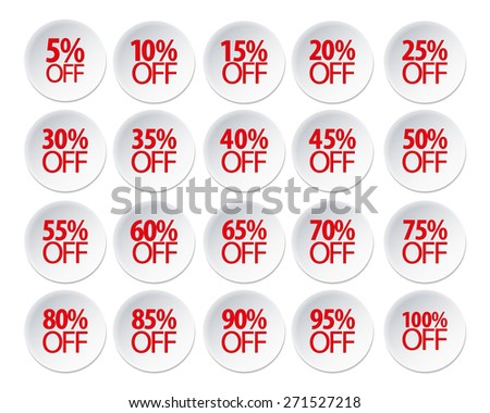 Vector: Red Sale 5 - 100 Percent OFF Discount Label Tag Isolated on White Background - stock vector
