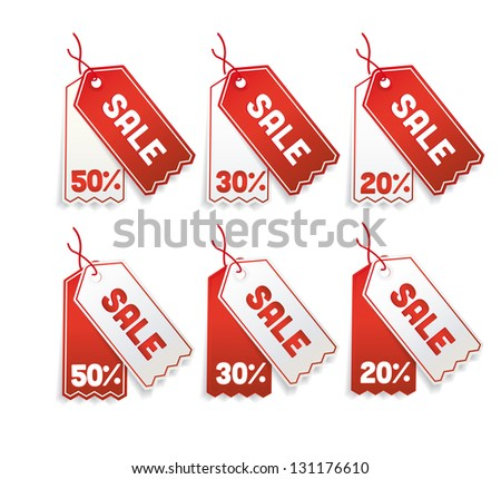 vector Red sale tags, 50%, 30%, 20% - stock vector
