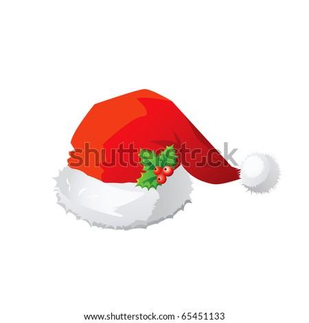 Vector red Santa Claus hat. - stock vector