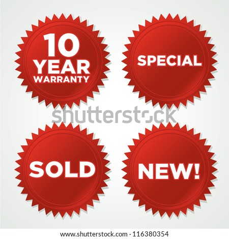 vector red seals stickers with drop shadow - stock vector