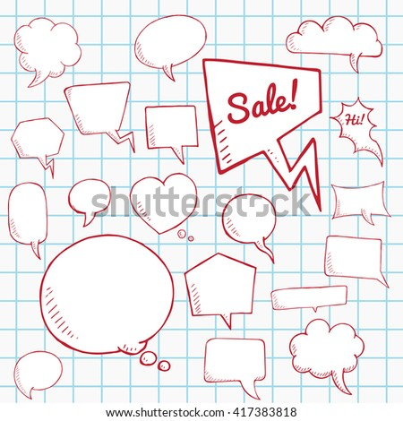 Vector red set of talk and think bubbles on notebook sheet , group of doodle speech bubles - stock vector