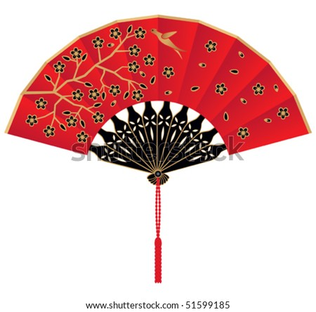 Vector Red Silk Fan Decorated with Flowers and Bird