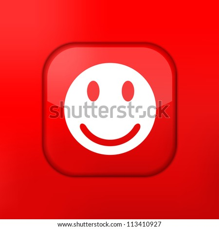 Vector red smile icon. Eps10. Easy to edit
