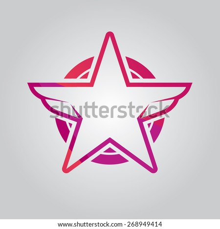 Vector Red Star Badge - stock vector