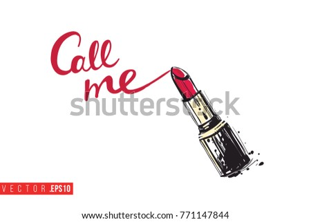 Vector red stick with motivational text: call me. Fashion accessory illustration in glamour style for beauty salon, shop, blog print. Isolated symbol on white background.