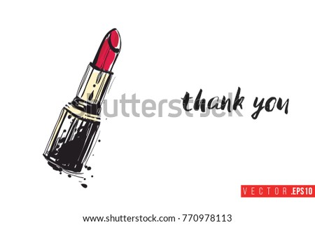 Vector red stick with motivational text: thank you. Fashion accessory illustration in glamour style for beauty salon, shop, blog print. Isolated symbol on white background.