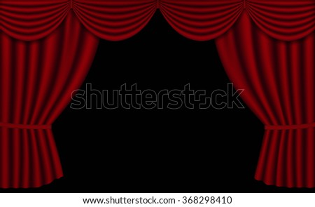 Vector Red Theater Curtains, Open with black background and Copy Space, Horizontal