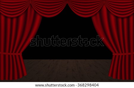 Vector Red Theater Curtains, Open with Wooden Stage and black background, Copy Space, Horizontal