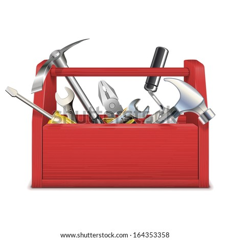 Vector Red Toolbox - stock vector