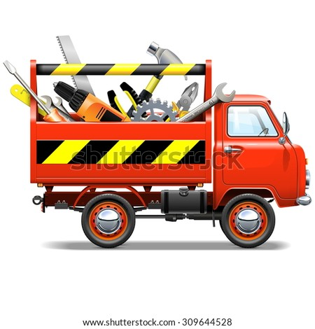 Vector Red Truck with Toolbox - stock vector