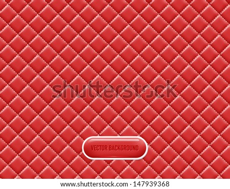 Vector red vinyl upholstery padded glossy background - stock vector