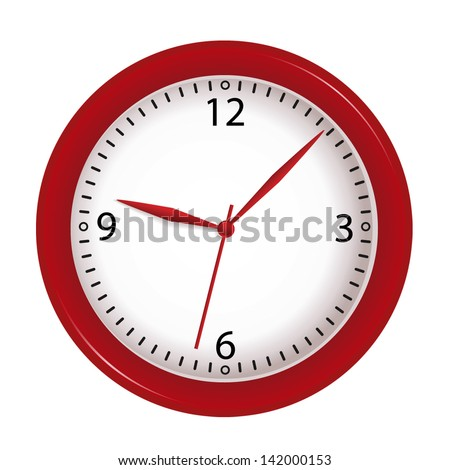 vector red wall clock isolated on white background
