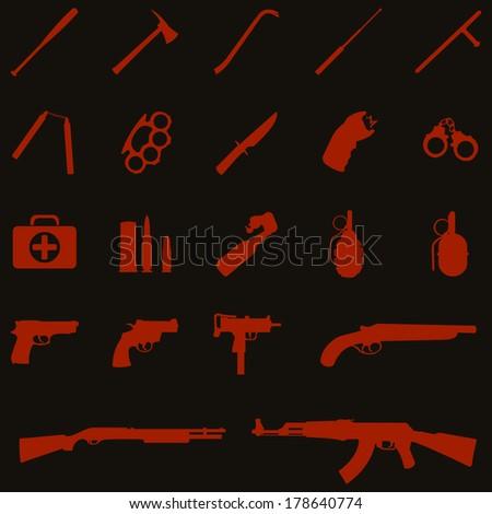 vector red weapon icons: baseball bat, ax, crowbar, telescopic baton, nunchaku, brass knuckles, knife, stun gun, handcuffs, first aid kit, ammo, grenade, pistol, revolver, shotgun, AK-47 - stock vector