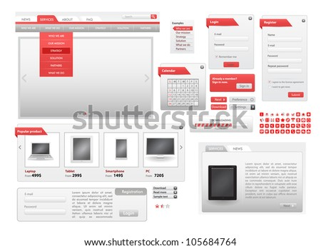Vector Red Web Design Frame Vector - stock vector
