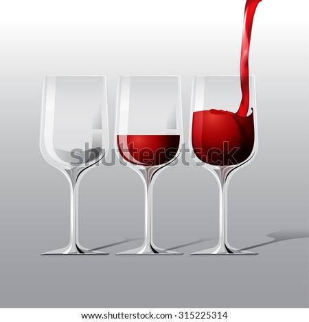 vector red wine glass illustration - stock vector