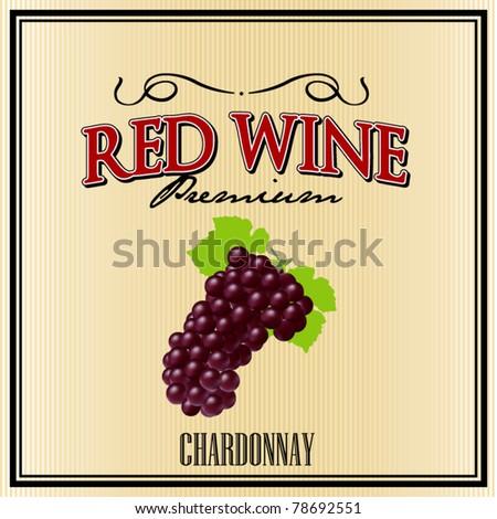 vector red wine label - stock vector