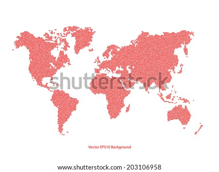 Vector red World Map dotted - stock vector