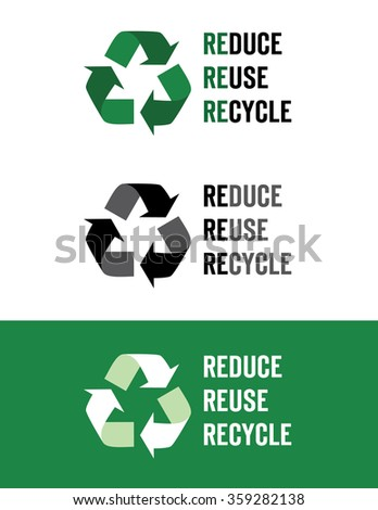 Vector 'Reduce, Reuse, Recycle' Icons - stock vector