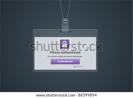 Vector register form in a shape of badge - stock vector