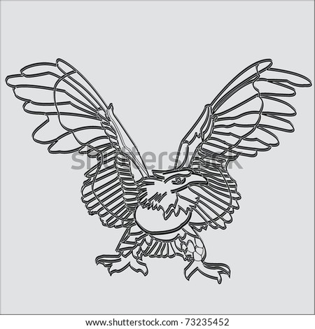 Vector relief images of an eagle