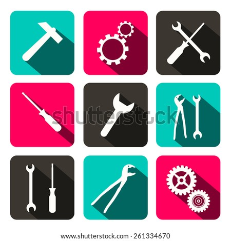 Vector Repair Technology Icons - Web Buttons with Cogs Gears, Screwdriver, Pincers, Spanner, Hand Wrench and Hammer Tools - stock vector