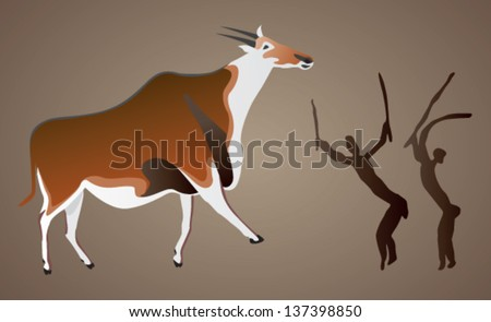 Vector representation of cave rock paintings from Drakensberg, South Africa, of two San Bushmen hunting an eland - stock vector