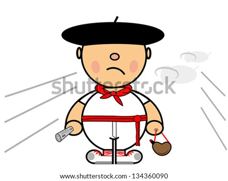Vector representing Kiki dress of boy runner in Pamplona - stock vector