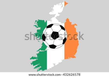 Vector Republic of Ireland topographic map isolated on grey background with football ball icon. Ireland flag and border of country. Flat style design. Irish border contour Original colors flag Group E - stock vector