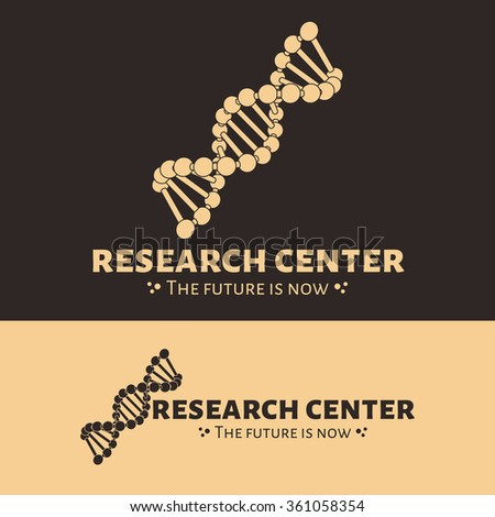Vector research center logo. DNA chain logo. Black and beige DNA logotype - stock vector