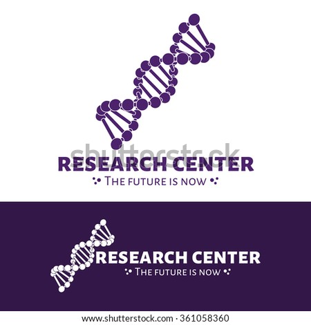 Vector research center logo. DNA chain logo. Purple and white DNA logotype - stock vector