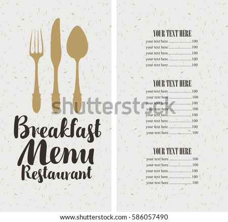 Vector Restaurant And Cafe Breakfast Menu Template With Cutlery And Price  Breakfast Menu Template