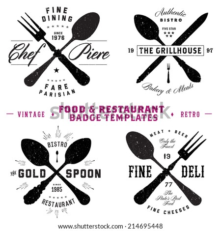Vector Restaurant and Food Badge Template Set. Easy to edit. All pieces are separated.  - stock vector