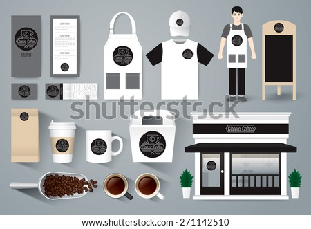Vector restaurant cafe design set, shop design, menu, package, uniform design / layout set of corporate identity mock up template. Black and white tones. - stock vector