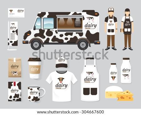 Vector restaurant cafe design set street dairy food truck shop, flyer, menu, package, t-shirt, cap, uniform and display design/ layout set of corporate identity mock up template. - stock vector