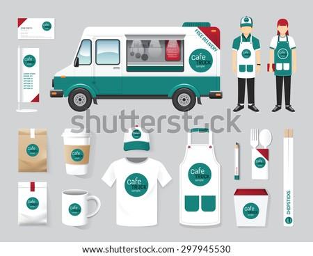 Vector restaurant cafe design set street food truck shop, flyer, menu, package, t-shirt, cap, uniform and display design/ layout set of corporate identity mock up template. - stock vector