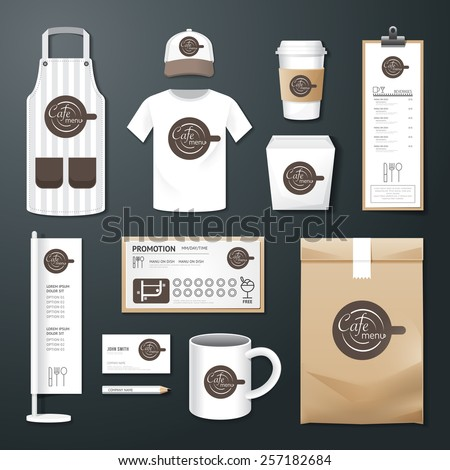 Vector restaurant cafe set flyer, menu, package, t-shirt, cap, uniform design/ layout set of corporate identity template. - stock vector