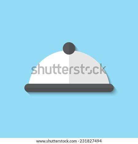 Vector restaurant cloche web flat icon. Eps 10 illustration. - stock vector