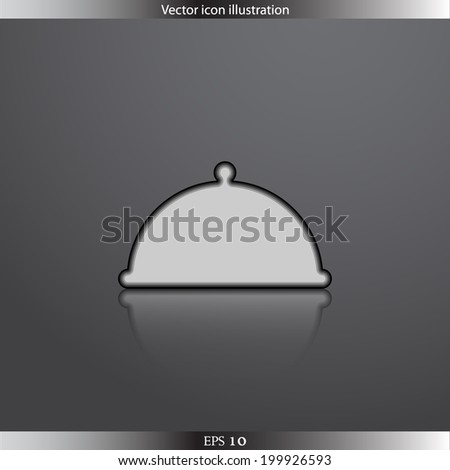 Vector restaurant cloche web flat icon.  Isolated. Flat design.
